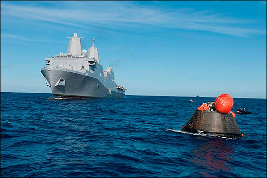 Orion capsule recovery at sea