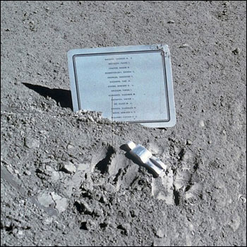 Apollo 15 commander Dave Scott placed this fallen astronaut memorial on the lunar surface in 1971 to commemorate the 14 U.S. astronauts and Soviet cosmonauts who had died exploring space.