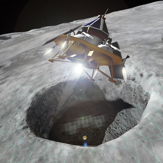 Astrobotic lander over the Moon