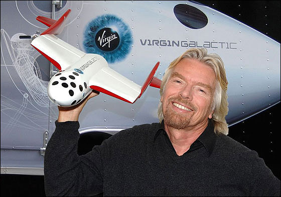Branson and SpaceShip Two model