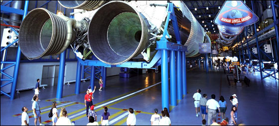 Tourists see Saturn V