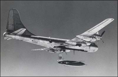 A Bell X-1 drops from a B-29 in the 1940s.