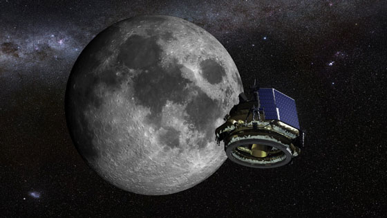 MoonEx spacecraft approaching the Moon
